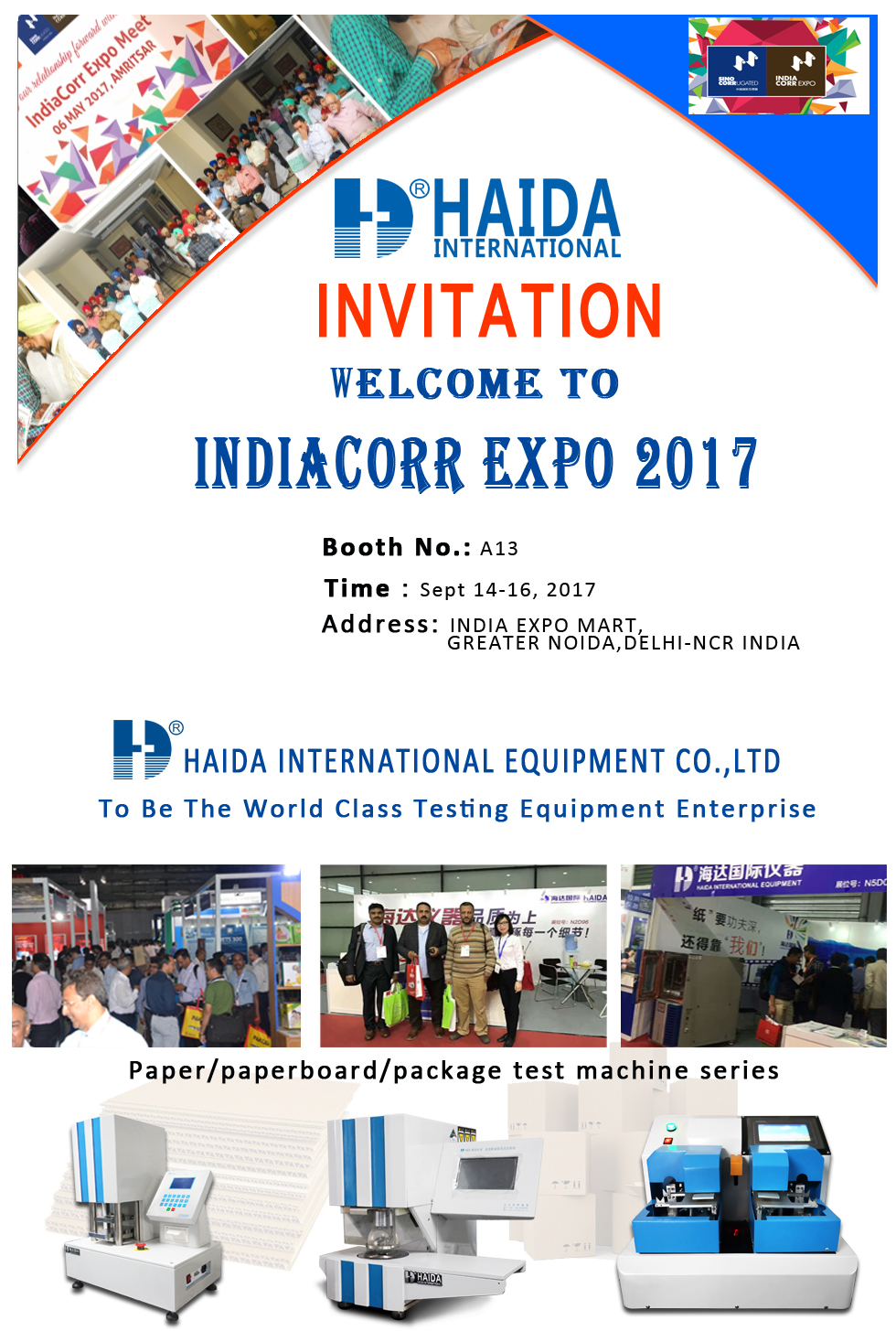 Welcome to Haida booth in IndiaCorr Expo 2017 Exhibitions